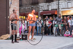 Ferrara, the traditional gathering of the buskers Royalty Free Stock Photo