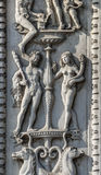 Ferrara, Verzierungen auf einem historischen Palast Stockbilder