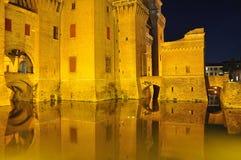 Ferrare, Italie Le château d'estense de castello par nuit Photographie stock libre de droits