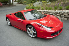 Ferrari 458. New Ferrari 458 parked in a suburban driveway Royalty Free Stock Image