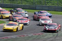 Ferrari 458 Challange first corner Stock Photography