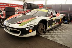 Ferrari 458 Challange in garage Royalty Free Stock Photos