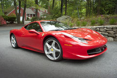 Ferrari 458 coupe. Italian Ferrari 458 coupe with V8 engine, 450 hp,195mph top speed and paddle shifting Royalty Free Stock Images