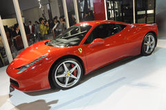 Ferrari 458 Italia. Italy famous brand,Ferrari 458 Italia sports car, in its exhibition hall,in 2010 international Auto-show GuangZhou. it is from 20/12/2010 to Royalty Free Stock Photo