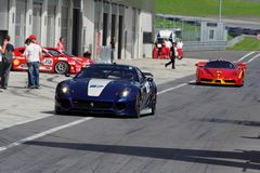 Ferrari 599XX and FXX in pit Stock Photo