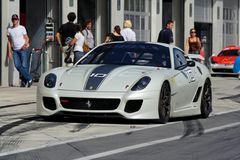 Ferrari 599XX in pit Stock Photo
