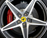 Ferrari California alloy and carbon brake Royalty Free Stock Photography