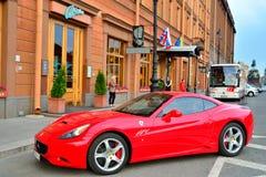 The Ferrari car at the hotel Astoria in Saint-Petersburg Stock Image