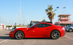 Ferrari car. This image is useful to magazines, web site, cover, web articles that talk about Ferrari brand Stock Photos