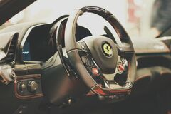 Ferrari car interior Royalty Free Stock Image