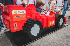Ferrari car made of Lego bricks in Milan, Italy Royalty Free Stock Images