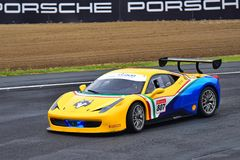 Ferrari 488 Challenge driving around race track at Ferrari Challenge Asia Pacific Series race on April 15, 2018 in Hampton Downs Stock Photography