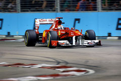 Ferrari chaufför Fernando Alonso 4th Singapore F1 Royaltyfria Foton