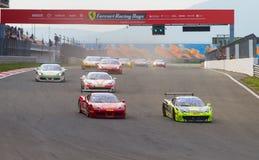 Ferrari die Dagen rennen royalty-vrije stock afbeeldingen