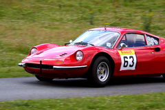Ferrari Dino 246GT at hill climb event Royalty Free Stock Photos