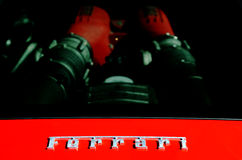 Ferrari engine and logo Royalty Free Stock Photo
