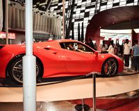 Ferrari Enzo is on display at Auto Show. inside a pavilion for the visitors royalty free stock photos
