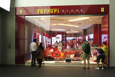 Ferrari  Exhibition hall. Ferrari exhibition hall  in Singapore,Newest Ferrari vehicles in the showroom Royalty Free Stock Photos