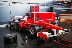 Ferrari F1. Abu Dhabi, UAE - November 17, 2018: Formula One sports car Ferrari in the theme park Ferrari World stock image