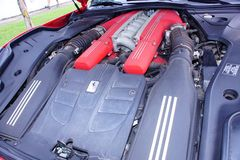Ferrari f12 Berlineta v12 engine. stock image