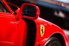 Ferrari F40 detail wing mirror, door, front wing stock photos