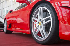 Ferrari F430 on red carpet Royalty Free Stock Photography