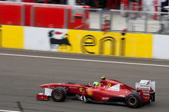 Ferrari F1. Image of Felipe Massa driving his Ferrari F1 car on the circuit of Hungaroring near Budapest stock photos