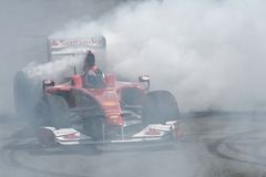 Ferrari F1 burnout Royalty Free Stock Images