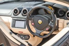 Ferrari-Fahrzeuginnenraum Stockfoto