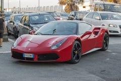 Ferrari flamejante vermelho 458 imagem de stock
