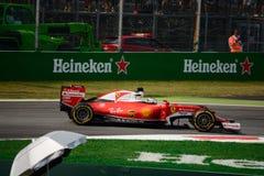 Ferrari Formula 1 at Monza driven by Sebastian Vettel. Scuderia Ferrari SF16-H during Friday free practice session of the 2016 Formula One Italian Grand Prix at Royalty Free Stock Images