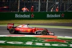 Ferrari Formula 1 at Monza driven by Sebastian Vettel. Scuderia Ferrari SF16-H during Friday free practice session of the 2016 Formula One Italian Grand Prix at Stock Photos