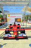 A Ferrari Formula Uno red racing car exposed at the EXPO Milano 2015. Stock Photography