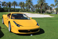 Ferrari 458 front view. Contemporary yellow ferrari 458 italia front view pininfarina Stock Images