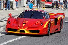 Ferrari FXX in pit Stock Photo