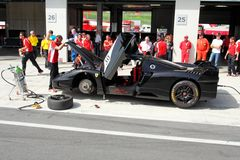 Ferrari FXX in pit Stock Images