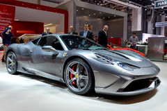 Ferrari at the 2014 Geneva Motorshow. The new Ferrari 458 Speciale at the 2014 Geneva Motorshow Stock Photography