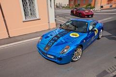 Ferrari 599 GTB Fiorano i Mille Miglia 2017 Arkivbild