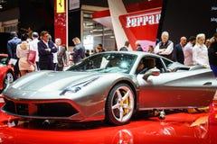 FERRARI 488 GTB, Motor Show Geneve 2015. Royalty Free Stock Photo