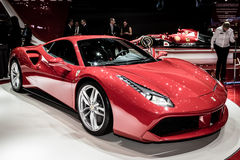 2015 Ferrari 488GTB. Presented the 85th International Geneva Motor Show Stock Photography