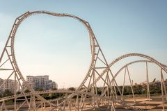 Ferrari-het Eiland van Wereldyas, Abu Dhabi - Januari 2, 2018: Wereld Fas royalty-vrije stock fotografie