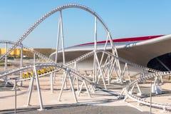Ferrari-het Eiland van Wereldyas, Abu Dhabi - Januari 2, 2018: Wereld Fas royalty-vrije stock foto