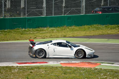 Ferrari 458 Italia GT2 at Monza. This Ferrari 458 Italia GT2 is driven at Monza in occasion of a Test day organized by Kateyama. Team StileF Squadra Corse is Royalty Free Stock Photos