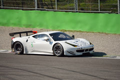 Ferrari 458 Italia GT2 at Monza. This Ferrari 458 Italia GT2 is driven at Monza in occasion of a Test day organized by Kateyama. Team StileF Squadra Corse is Royalty Free Stock Image