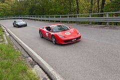 Ferrari 458 Italia i den Mille migliaen 2013 Arkivfoto