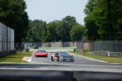 Ferrari 458 Italia på Roggiaen Chicane av Monza Arkivfoton