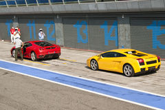 Ferrari and Lamborghini at Autodromo di Monza Stock Image