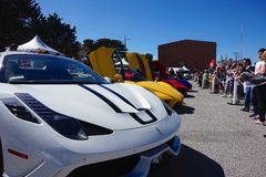 Ferrari Lineup. Lineup of a Ferrari 458 Speciale, Enzo, and two LaFerraris at Exotics on Cannery Row royalty free stock image