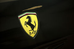 Ferrari logo. MARANELLO, ITALY - 09 JUne, 2012: Logo of Ferrari on sport car formula 1 in Museum Ferrari, Maranello, Italy Royalty Free Stock Photo