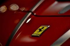 Ferrari logo from a ferrari fxxk stock photography